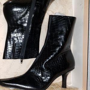 Crocodile print leather boots
